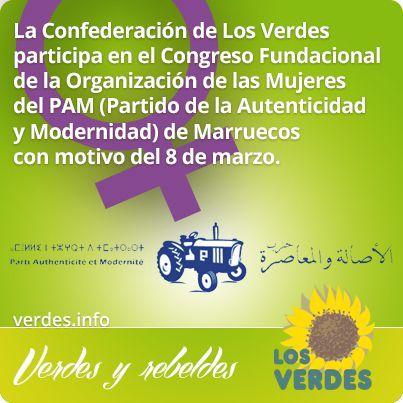 La Confederación de Los Verdes participa en el Congreso Fundacional de la Organización de las Mujeres del PAM (Partido de la Autenticidad y Modernidad) de Marruecos con motivo del 8 de marzo