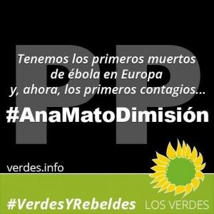 Los Verdes exigen el cese inmediato de Ana Mato y de los responsables del contagio del ébola
