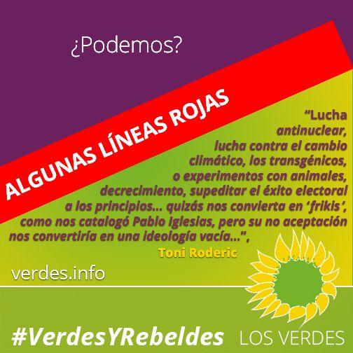 Algunas líneas rojas que imposibilitan acuerdos de Los Verdes con Podemos