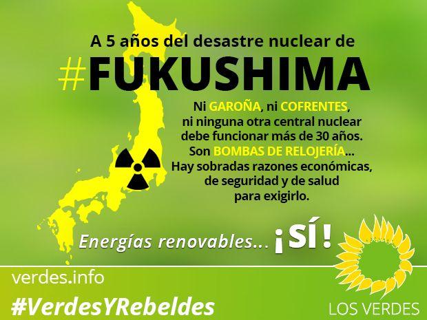 En el aniversario de Fukushima, Los Verdes apostamos por las energías renovables