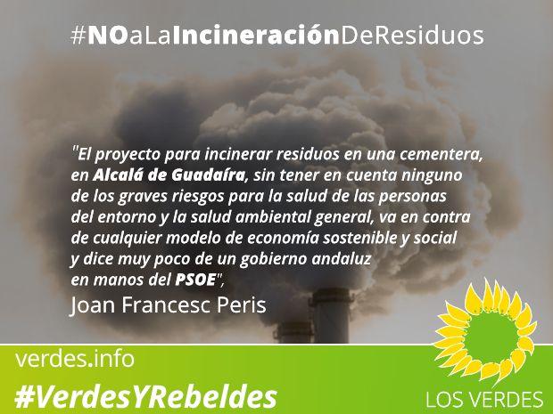 Los Verdes se oponen a la incineración de residuos en la cementera de Alcalá de Guadaíra por los graves riesgos para la salud de las personas y el medio ambiente
