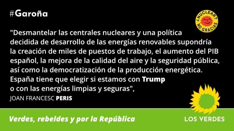 Los Verdes exigen al Consejo de Seguridad Nuclear que acuerde el cierre definitivo y el desmantelamiento de la central nuclear de Garoña