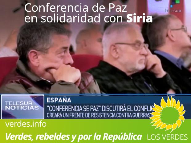 Los Verdes participan en la Conferencia de Paz en solidaridad con Siria