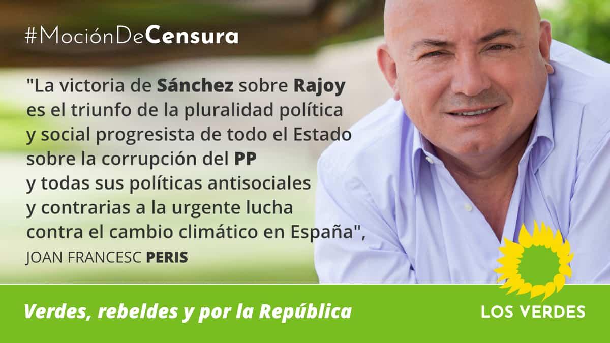 Los Verdes felicitan a Pedro Sánchez y piden que, entre sus tareas urgentes, incluya una agenda española contra el cambio climático y por las energías renovables, la soberania y la seguridad alimentaria en España