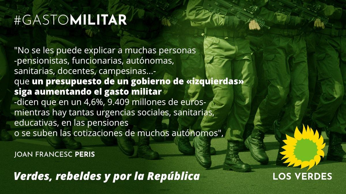 Los Verdes denuncian que los PGE21 siguen aumentando el gasto militar en España de manera incomprensible ante las urgencias sociales, la COVID-19 y la emergencia ambiental