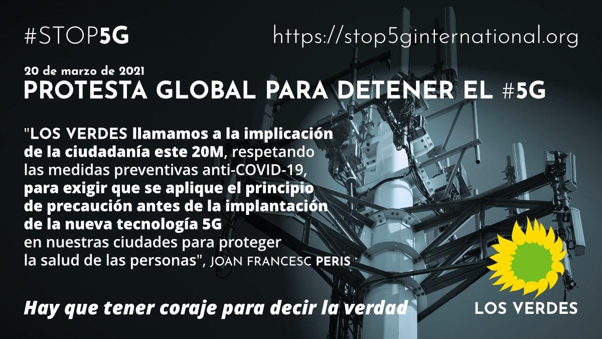 Los Verdes llaman a la movilización ciudadana ante el aumento de radiación de microondas que supondrá el 5G en el marco de la campaña de protesta global #STOP5G del 20 de marzo